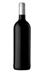 A bottle of red wine, isolated on white with clipping path.