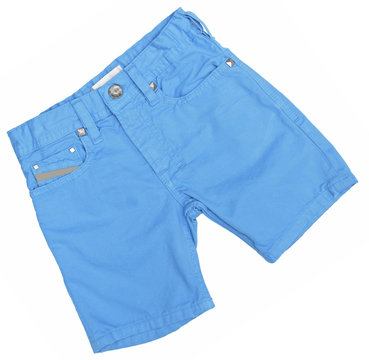 Blue jeans shorts isolated on the white background