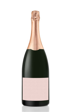 Champagne bottle isolated on white background with clipping path