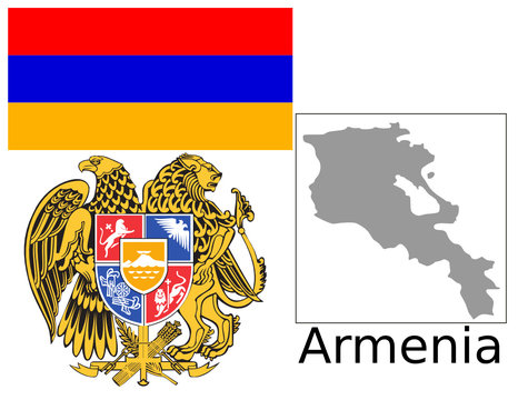Armenia flag national emblem map