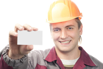 Fotobehang - Builder with business card