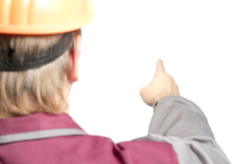 Fotobehang - Worker pointing direction with his finger