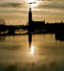 Coucher de soleil à Stockholm en Suède
