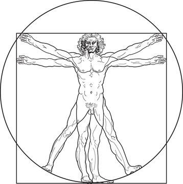 'Homo vitruviano'. So-called The Vitruvian man a.k.a. Leonardo's man. Detailed drawing on the basis of artwork by Leonardo da Vinci by ancient manuscript of Roman master Marcus Vitruvius Pollio.