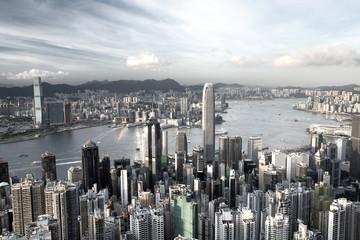 Hong Kong city in low saturation