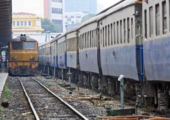 Perspective of Yellow deisel train locomotive on Platform