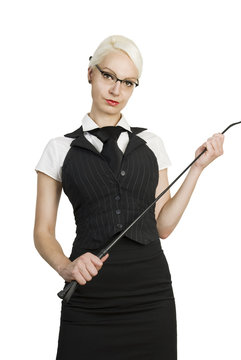 Young business woman with a whip in her hands.