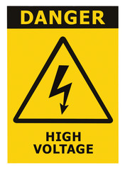 Danger High Voltage Sign With Text Isolated