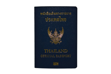 Thailand Official Passport Isolated on White