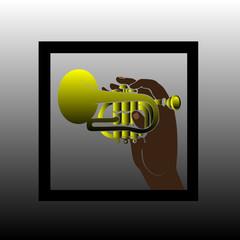 jazz symbol - hand holding trumpet