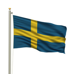 Flag of Sweden waving in the wind in front of white background