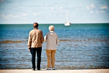 elderly couple on seashore looking boat at the sea