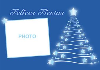 Felicitación de navidad azul con árbol