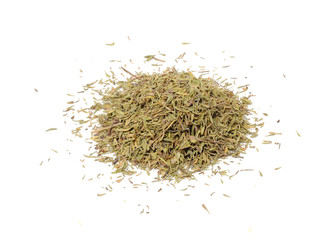 Pile of Dried Thyme Isolated on White Background