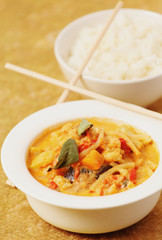 Delicious Thai curry, vertical food composition