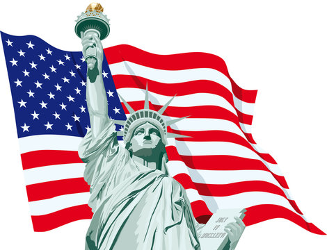 statue of liberty - flag