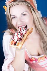 woman with  an ice-cream waffle