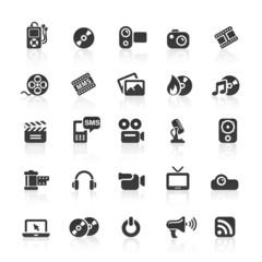 Black Web Icons - Media