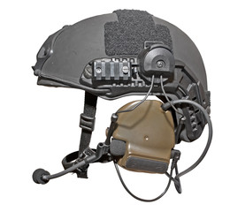 Special troops helmet with headphones. Clipping path incl.