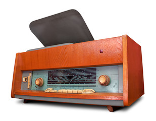 Vintage radio isolated. Clipping path included.
