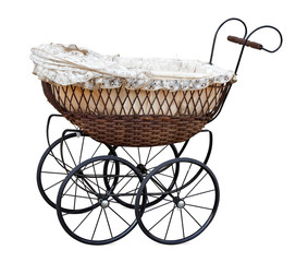 Retro pram isolated on white. Clipping path included.