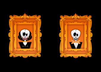 ritratto di coppia di scheletri