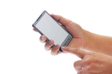 hand holding blank smart phone
