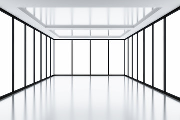 Modern empty room with light from windows