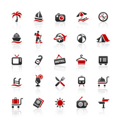 Red Black Web Icons - Summer and Vacation