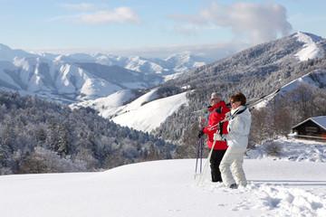 Homme et femme seniors à la neige