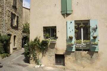 French Village Window Flowerpots Provence France