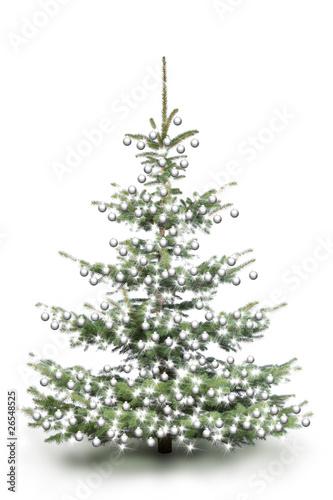 weihnachtsbaum mit wei en kugeln stockfotos und. Black Bedroom Furniture Sets. Home Design Ideas