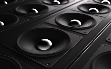 A powerful audio system. Array of speakers