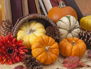 Ornamental pumpkins and books