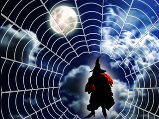 Witch in spiders web and full moon behind with clear sky