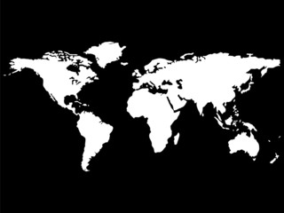 white world map isolated on black background