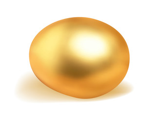 Golden egg isolated on white.