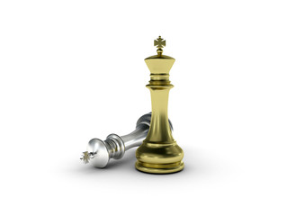 Golden chess king standing