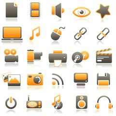multimedia Orange Icons