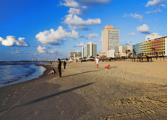Evening view on the beaches of Tel-Aviv, Israel