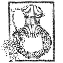 wine jar with grape woodcut
