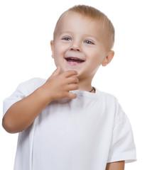 Happy Cute Baby Boy over white