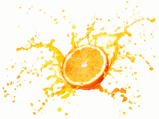 orange juice splash isolated