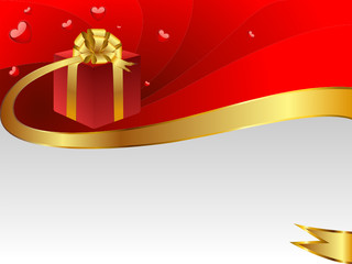 A gift to the holiday is decorated a gold bow.