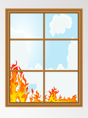 Wall Mural - Fire behind the window