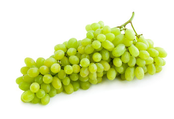 Big bunch of green grapes isolated on white background