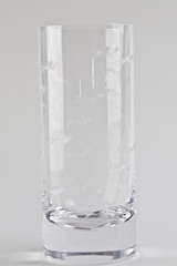 Empty drinking glass with etched fish
