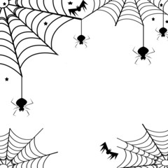 Spiders,their webs and bats-Halloween concept