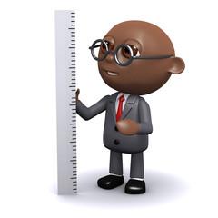 3d Black businessman measures up