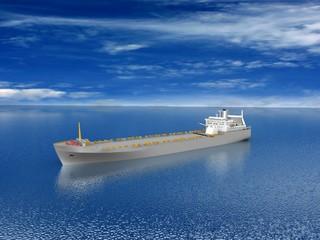 barge on beautiful seascape